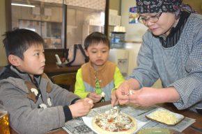 入野きのこピザ作り